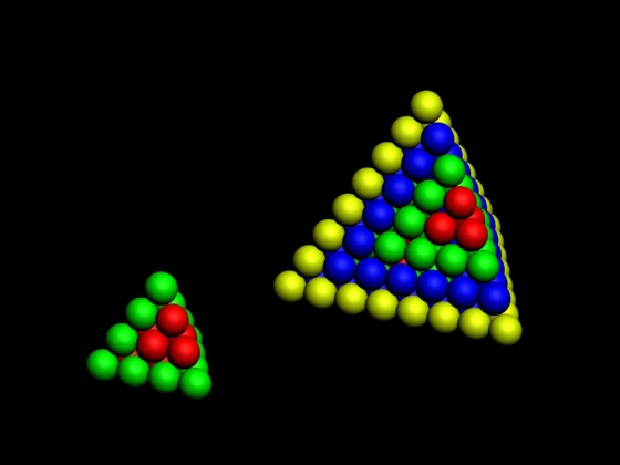 Fig. 6.Tetrahedron shells. Size: 20, 100 - Three-dimensional table of the periodic law - Model of the atom