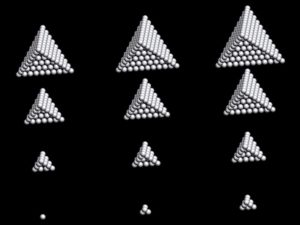Fig. 3. Three tetrahedra sequences can be made by the trihedral cap gnomons